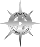 HEVANS logo metal look badge
